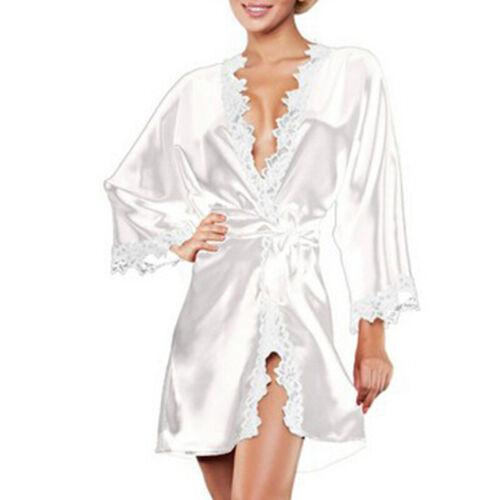 Damen Satin Spitze Nachtwäsche Reizwäsche Heim Bademantel Schlafanzug