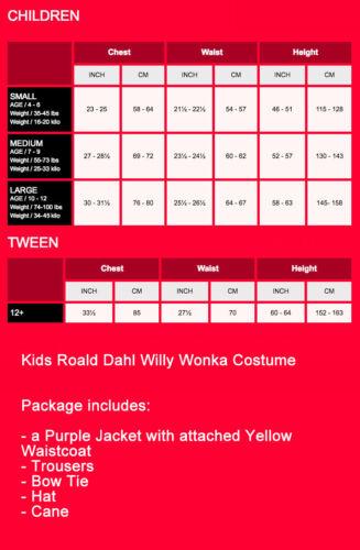 Boys Roald Dahl Willy Wonka Costume Chocolate Factory Kids Child Book Week Dress