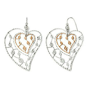 64X42mm-Sterling-Silver-Diamond-Cut-Heart-Shape-Leaf-Design-Dangle-Hook-Earrings