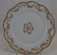 "Haviland Limoges Schleiger 270 Double Gold Pink Rose Swag Lunch Plate 8 1/2""  #1"