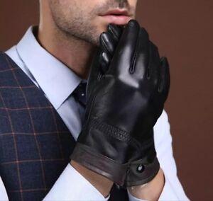 Gants-Homme-Cuir-Veritable-Peau-Mouton-Noir-ou-Noir-Marro-Rembourage-Chaud-Hiver