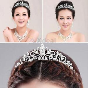 Stunning Wedding Bridal Princess Crystal Prom Hair Tiara Crown Veil