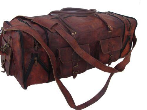 Genuine Leather luggage gym weekend overnight duffle large vintage folding bag