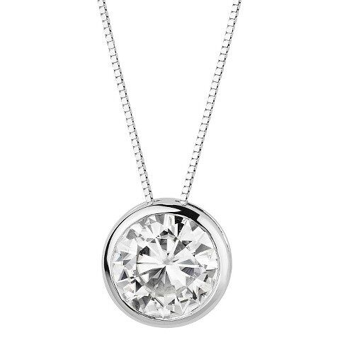 15 ct solitaire simulated diamond bezel pendant necklace solid 14k 15 ct solitaire simulated diamond bezel pendant necklace solid 14k white gold ebay aloadofball Choice Image