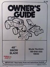 Mtd 48 Push Plow Dozer Blade Lawn Garden Tractor Owner Amp Parts Manual Yard Man