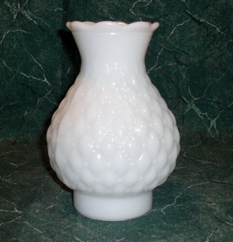 """7/"""" High Milk Glass w// Quilted Diamond Pattern 3/"""" Base // Fitter Chimney"""