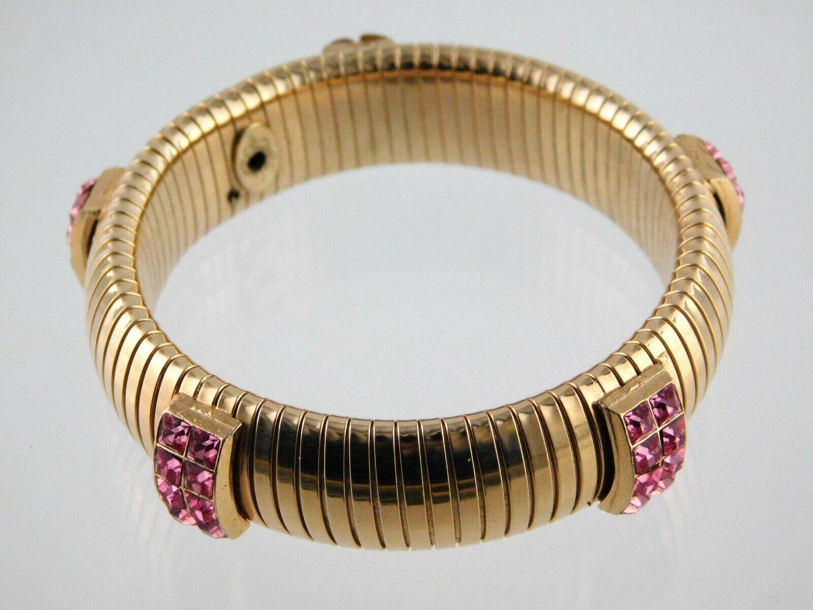Vintage Goldtone White Gemstone Stretch  Design Bracelet 2.25/'/' Diameter