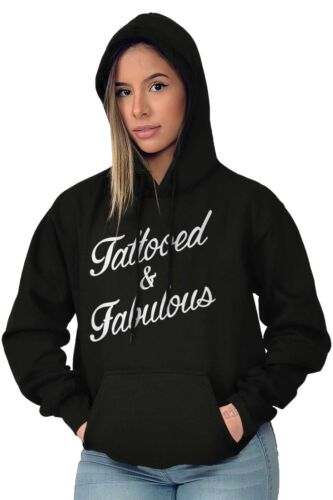 Tattooed And Fabulous Graphic Artsy Inked Womens Hooded Pullover Sweatshirt