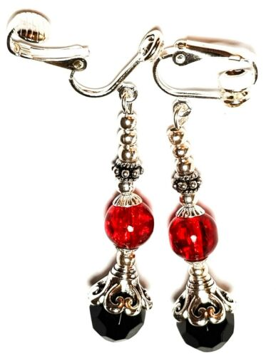 Classy Dangly Silver Red /& Black Clip On Earrings Glass Bead Vintage Style