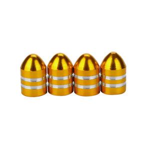 Lot-de-4-bouchons-de-valve-en-aluminium-balle-munition-jaune-or-Auto-Moto-Velo