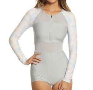 HURLEY-Swimsuit-Rash-Guard-Women-039-s-Quick-Dry-One-Piece-Floral-Wetsuit-sz-S-or-M