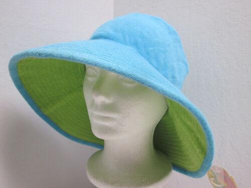 "New Ladies S//M Reversible Floppy Terry Hat Blue /& Green 4/"" Wide Brim"