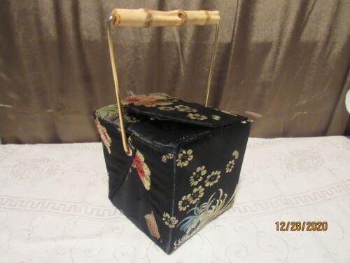 Silk Covered Chinese Take Out Box Shaped Small Eve