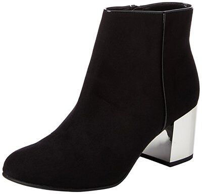 BLACK SILVER MID HEEL ANKLE BOOTS