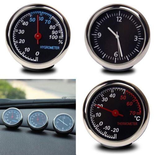 Car Thermometer Hygrometer Quartz Clock For Dashboard Ornament Kit Set Black #ur