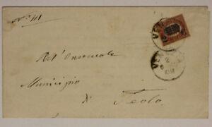 Storia-Postale-Regno-2-Centesimi-su-10-Lire-1880-Venezia-Teolo-Lettera-SP41