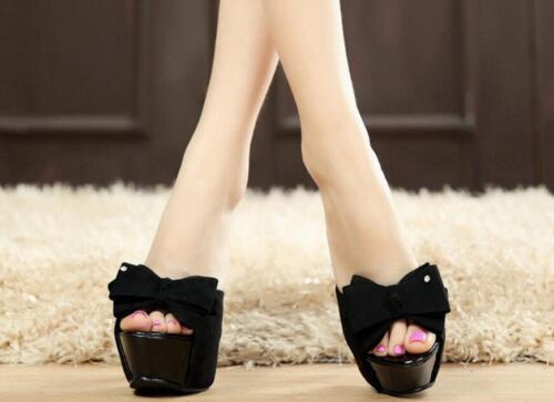 Womens Stiletto Heels Platform Bow Rhinestone Slipper Mules Ball Grown Sandals