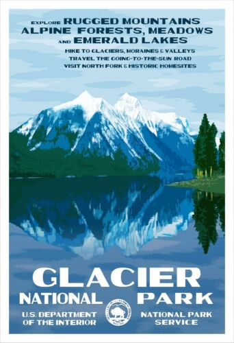 Glacier National Park Poster Original WPA-style Art PrintFree Shipping