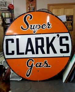 OLD-6-039-tall-Clarks-Super-Gas-sign-look-at-my-porcelain-oil-neon-signs-1-sided