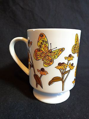 Vintage Retro BUTTERFLY FOOTED MUG Orange Brown Yellow Coffee Cup