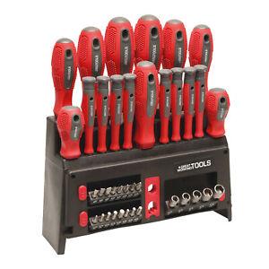 Great Working Tools 39 Piece Screwdriver Set - Magnetic Steel Tip Blades & Rack