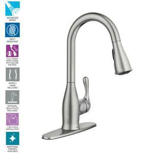 Moen Kaden Single Handle Pull Down Sprayer Kitchen Faucet Spot Resist Stainless 26508260296 Ebay