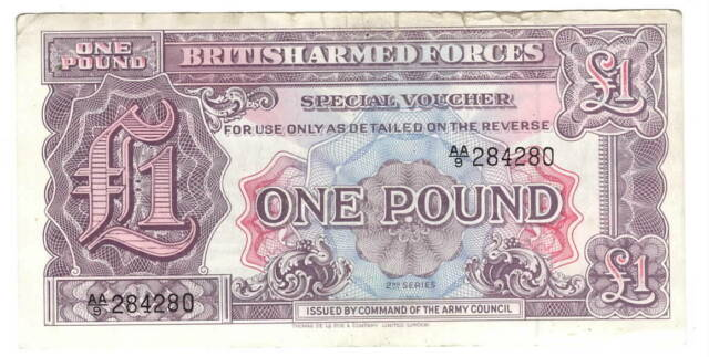 England BRITISH ARMED FORCES 1 Pound VF Banknote (1948) P- M22 AA/9 Prefix