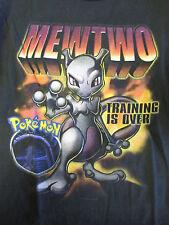 Pokemon Mewtwo T-shirt Vintage Black Youth Large Nintendo Long Sleeve 1999 YL