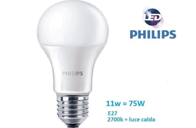 lampadina led philips goccia 11w - 75w e27 luce calda 2700k 1055