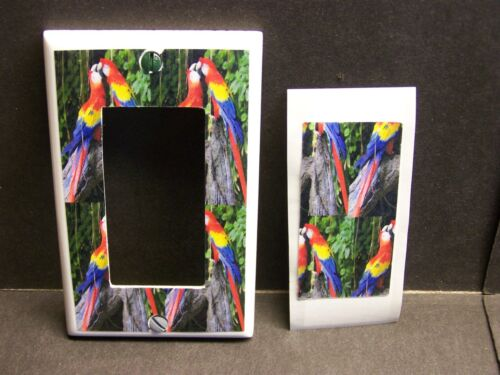 COLORFUL KISSING MCAW PARROTS  IMAGE LIGHT SWITCH COVER PLATE OR OUTLET