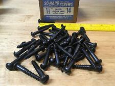 "26 New Old Stock #14 x 3/"" Blued Steel Round Head Wood Screws Vintage So Hard USA"