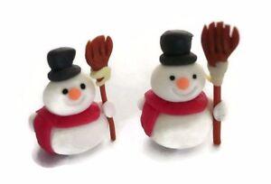Set of 2 Snowman Christmas Dollhouse Miniatures Clay Figurine Holiday Season