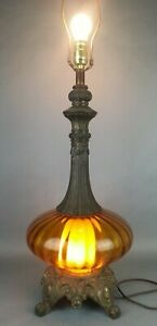 Vtg-Mid-Century-Modern-Amber-Colored-Glass-Twinkle-Table-Lamps-Night-Light