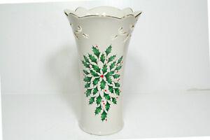 "Lenox For the Holidays "" Holiday ""  Pierced  9""  Medium Vase  Mint"