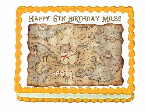 Treasure Map edible party cake topper cake decoration image frosting sheet