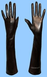 New-WOMENS-size-7-5-EXTRA-LONG-SILK-LINED-BLACK-LAMBSKIN-LEATHER-GLOVES