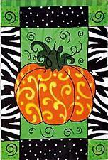 "Whimsy Pumpkin Applique Fall Garden Flag Swirls Patterns 12.5"" x 18"""