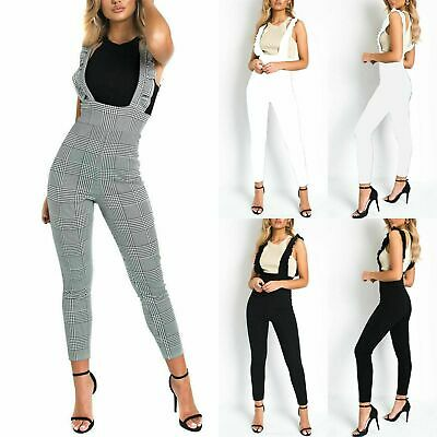 Womens Ladies Frill Neck Dog Tooth Print All In One Jumpsuit Dungaree UK 8-14