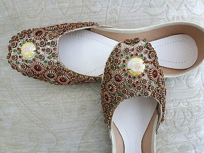 Beige Cuero señoras de la India Boda Fiesta Zapatos Talla 5