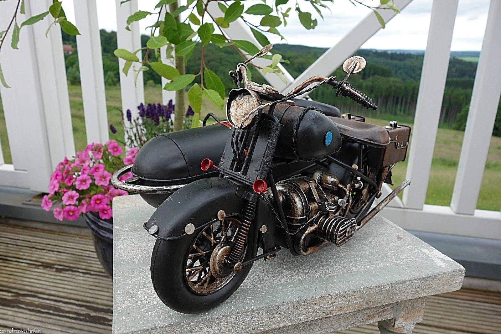 Nostalgie Motorrad Beiwagen Blechfahrzeug Sammlerstück Retro-Stil 18 x32 x22cm g