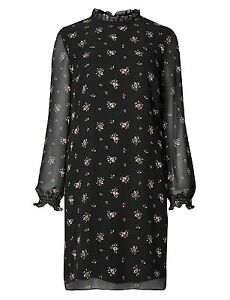 Marks Amp Spencer Black Chiffon Ditsy Long Sleeved Tunic
