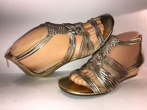 ENZO-ANGIOLINI-SZ-7-1-2-GOLD-ZIP-UP-STRAPPY-WEDGE-HEEL-WOMEN-SANDALS-WS8-4-3