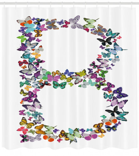 Butterfly Letters Pattern Shower Curtain Fabric Decor Set with Hooks 4 Sizes