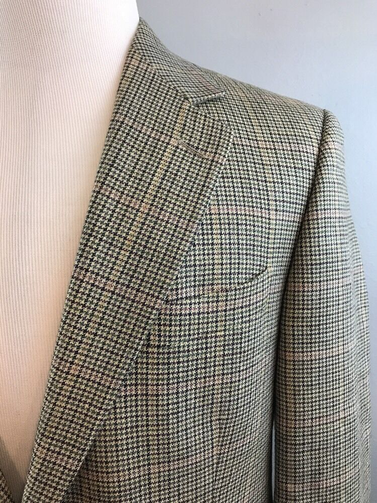 Brooks Brothers  Herren Beige Houndstooth 2 Btn Wool Silk Linen Blazer 42 Reg