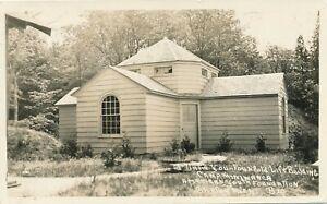 SHELBY-MI-Camp-Miniwanka-Fourfold-Life-Building-Real-Photo-Postcard-rppc-1936