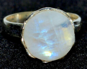 Mystic-Piedra-Lunar-Anillos-de-piedras-preciosas-naturales-925-Sterling-Silver-Ring-Todos-los