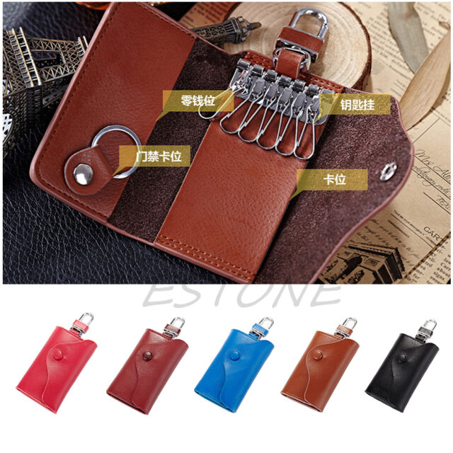 Soft Men's Leather Wallet Car Key Chain Holder Accessory 6 Ring Pouch Purse Case