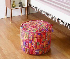 Bohemian-Flickwerk-Pink-Hocker-Ottomane-Indisch-Vintage-Sitzkissen-Deckel-Stuhl