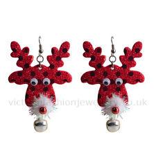 Christmas RUDOLF REINDEER EARRINGS in RED FABRIC, Drop Dangle Hook Xmas Party