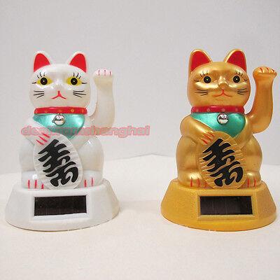 Lucky Cat Waving Solar Power Powered Japanese Fortune White Maneki Neko Wealth